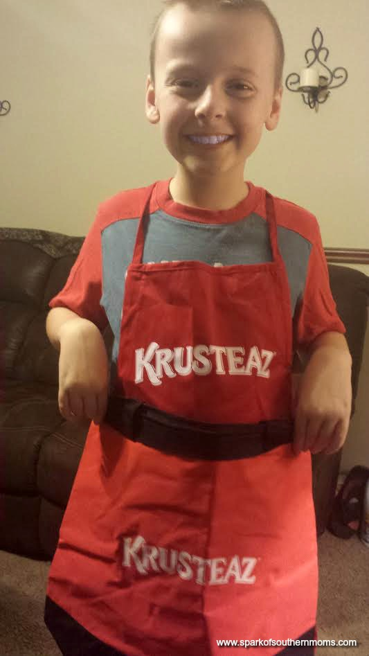 Independence Day with Krusteaz! : Showing off his new accessories from Krusteaz!